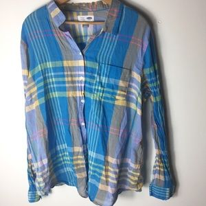 Old Navy Blue XXL Stripe Button Front Classic Top